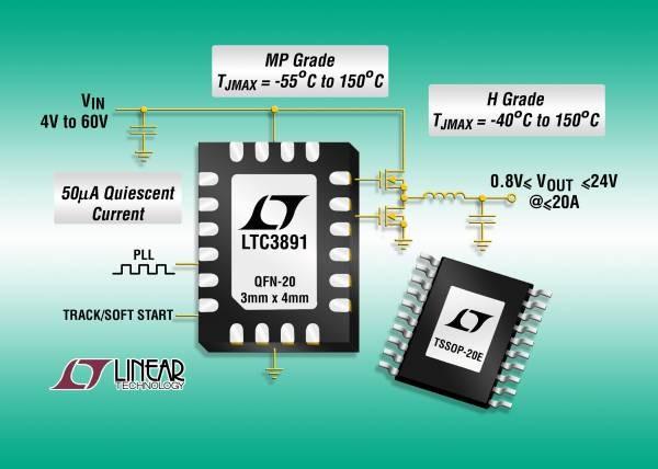 Controller DC/DC step-down sincrono con ingresso da 60 V