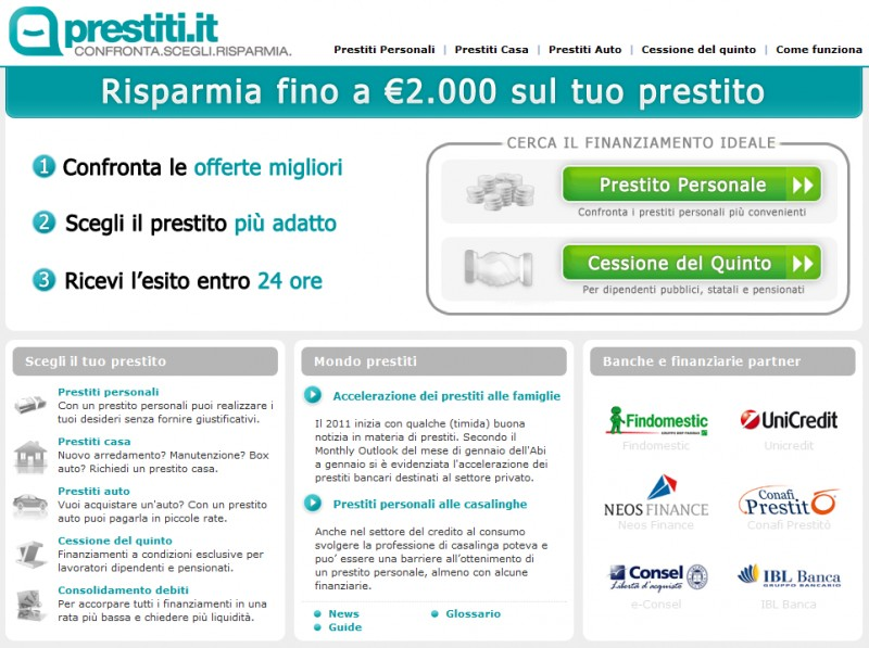 La Homepage di Prestiti.it