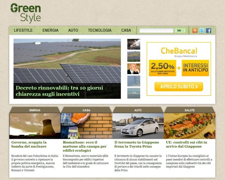 La home page di GreenStyle