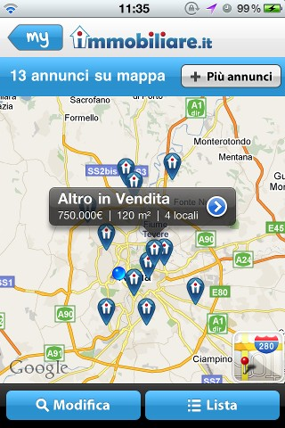 Immobiliare.it per iPhone, versione 2.0