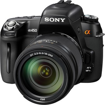 Sony A450, vista frontale