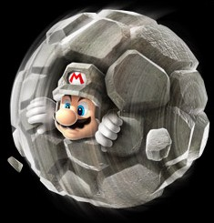Super Mario Galaxy 2: costume Mario Roccia